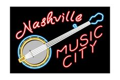 Nashville, Tennesse - Neon Banjo Sign Art Print at AllPosters.com