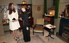 Phyllis Logan (Mrs Hughes) and the Duchess of Cambridge at the Downton Abbey set