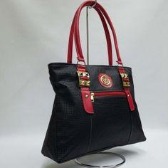 f9491c9b55 Bolsa Couro Sintético Bs35 · Atacado de Bolsa Feminina Barata Tecido Corino  BS35 Preta Vermelho