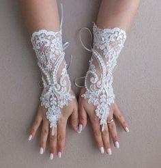 Düğün Eldiven, fildişi fransız dantelli eldivenler, parmaksız eldivenler, fildişi gelinlik eldiven, Fildişi, inciler, ücretsiz gemi