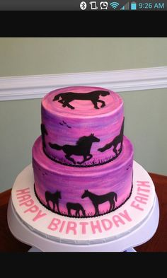 Ashlynn wants this cake for her birthday. Horse Silhouette Sunset - Horses were hand cut from black fondant using a paper template. Purple sunset was painted onto pink buttercream. Western Birthday Cakes, Western Cakes, Horse Birthday Parties, Cowgirl Birthday, Cowgirl Party, Birthday Cake Girls, Horse Birthday Cakes, 12th Birthday, Birthday Ideas