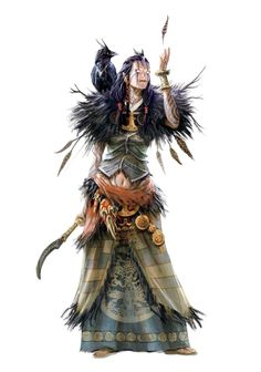 Female Human Shaman or Crow Witch - Pathfinder PFRPG DND D&D 3.5 5th ed d20 fantasy