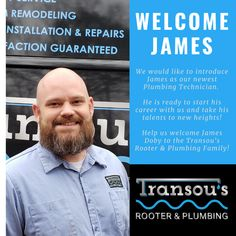 Help us welcome James to the Transou's Rooter & Plumbing family. It's always exciting to have new professionals join our team and bring great enthusiasm to fellow co-workers and customers. James emphasizes our core values and the quality that our company brings to each customer's experience. We are happy to have James part of the family. Rooter Plumbing, Ready To Start, Join Our Team, Core Values, Customer Experience, Bring It On, Happy
