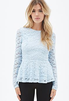 This is so cool! Rose Lace Peplum Top | FOREVER21 - 2000136754