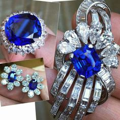 A 7.66 carat unheated Burmese emerald cut sapphire & diamond @harrywinston brooch and earrings match this gorgeous 24.72 carat unheated Burmese sapphire @bulgariofficial ring perfectly. Via @frankbeverett @sothebys #SothebysJewels #importantjewels #letsbid #sensationalbids