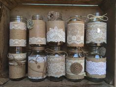 Shabby Mason Jars : Set of 3 CUSTOM Burlap by RusticChicBodyShop