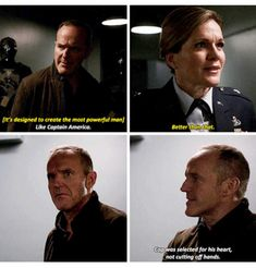 """Coulson: Cap was selected for his heart, not cutting off hands. Agents of S. """"Rise and Shine"""" Marvel Show, Marvel Films, Marvel Jokes, Disney Marvel, Marvel Funny, Marvel Avengers, Marvel Comics, Fitz And Simmons, Marvels Agents Of Shield"""