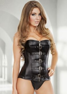 995550e864 Hillary Fisher in a On The Wild Side Corset Leather Lingerie