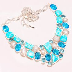 100% Sold Caribbean Larimar & London Topaz,Pearl - 925 Silver Jewelry Necklace #Unbranded #Choker