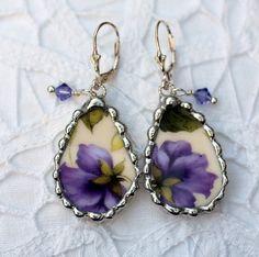 Broken China Jewelry Teardrop Earrings by Robinsnestcreation1, $45.00