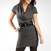 Belted Cowl Neck Sweater Dress