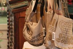 i saw these types of bags when i went to montana. they're purses made from coffee bags, and the insides are made from goodwill mens button-up shirts. it was too expensive for me to buy even though i wanted it so badly...but super cool idea to maybe do on your own :)