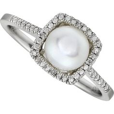 Freshwater Cultured Pearl Diamond Halo Ring - 7mm Pearl Ring - White Pearls - Custom Bridal Jewelry