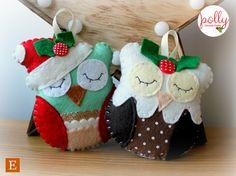 Felt Figgy Pudding Owl Decoration. van PollyChromeCrafts op Etsy