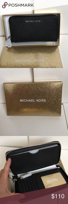 🍥mk wallet/wristlet🍥black saffiano Authentic brand new with tag. Black leather silver hard wear. Fit any phone . Comes with tag&gift box great for gift .🎁 Saffiano leather Michael Kors Bags Wallets