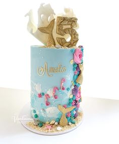 Mermaid Birthday Cakes, Cute Birthday Cakes, 4th Birthday Parties, 2nd Birthday, Birthday Ideas, Happy Birthday, Underwater Birthday, Underwater Theme, Cake Decorating Frosting