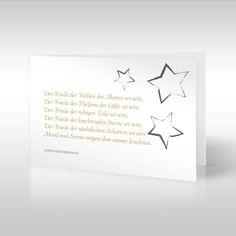 Sternenzelt  |  Der auf dieser Beileidskarte verwendete Spruch ist ein alter gälischer Segen. Die Stern-Illustration greift einen Teil des tröstlichen Trauerspruchs auf und findet oben rechts in der Ecke Platz. Die Stern-Motive wurden von uns digital per Hand illustriert. https://www.design-trauerkarten.de/produkt/sternenzelt-4/