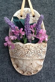 Clay Wall Pocket with Inlaid Lace
