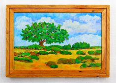 Southwest desert landscape painting with a frame made of recycled pallet wood by Robert Price. www.etsy.com/robertpricegallery
