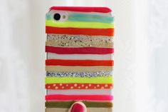 Painted iPhone cover (psst- it's nail polish!) - DIY phone case :)