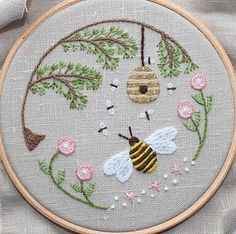bee's world crewel embroidery by flossbox, via flickr