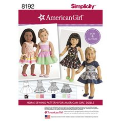 """Pattern 8192 American Girl Doll Clothes for 18"""" Doll"""