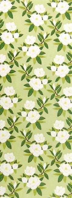 Japanese Tenugui Towel Cotton Fabric, Magnolia Flower Design, Green Fabric, Hand Dyed Fabric, Modern Art Design, Wall Art Hanging, JapanLovelyCrafts