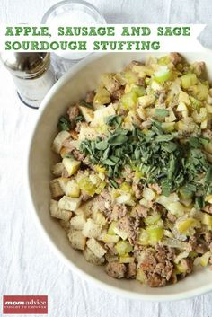 Make-Ahead  Apple, Sausage, And Sage Sourdough Stuffing from MomAdvice.com.