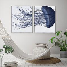 Nautical canvas art, blue and white, Hamptons style, Set of 2, Beach decor, bathroom decor, Big canvas art, blue room decor Jellyfish giant