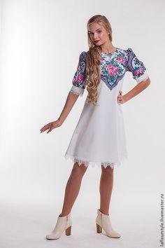 Купить Платье из платков 4 - орнамент, платок, платье, трикотаж, шерсть, вискоза, павловопосадский платок