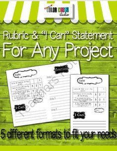 """Grading Rubric With """"I Can Statement"""" For Any Project from The Color Crush Studio on TeachersNotebook.com -  (5 pages)  - I created this little rubric to easily grade students� projects related to any common core outcome. I find it very helpful because student outcomes can clearly be defined on this and the students know"""