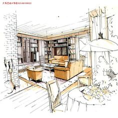 现代室内装饰设计优秀手绘图