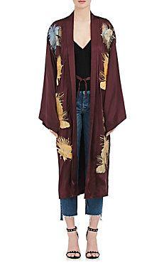 Daya Embroidered Silk Satin Kimono