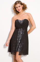 Trixxi Chiffon Overlay Sequin Strapless Dress
