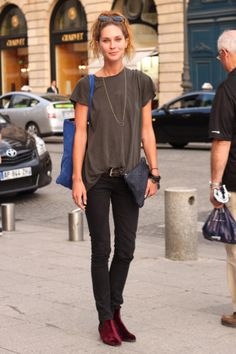 Erin Wasson with the @ClareVivier black pebble flat