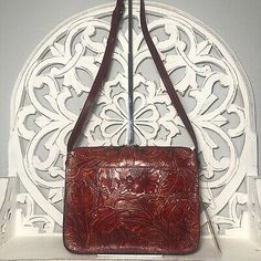 Patricia Nash Nazaire Crossbody Red Mediterranean Floral Tooled Leather | eBay Tooled Leather, Leather Tooling, Patricia Nash, Embossed Logo, Michael Kors Jet Set, Turquoise, Floral, Red, Bags