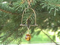 Bird on Wire Bronze Amber Acorn Necklace by @dragonflyridge on Etsy, $12.00