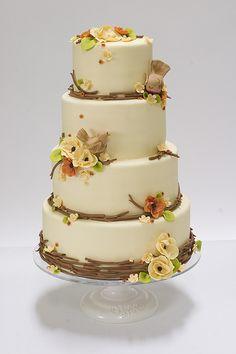 Autumn Nature Wedding Cake