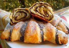 Mákos, szilvalekváros omlós kifli Croissant Bread, Almond Bars, Ciabatta, Scones, French Toast, Brunch, Rolls, Food And Drink, Sweets