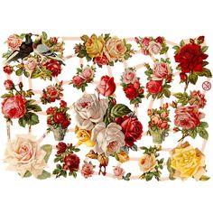 Kiiltokuvat, arkki 16,5x23,5 cm, nostalgiset ruusut, 3ark