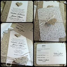 RUSTIC Wedding Invitation - Lyrical Love Collection - Song Lyrics - VINTAGE - Heart - Custom - Recycled - Eco Friendly. $4.75, via Etsy.