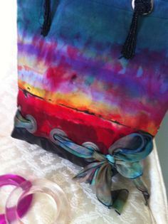 FREE Shipping - Sunrise Hand Painted Silk Handbag, Tote,  one of a kind - Beaded, Made in California on Etsy, $125.00