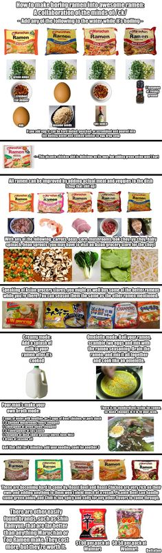 Ideas for cooking Ramen. I've done a lot of these and it's an easy, delicious, and inexpensive dinner. And depending on what you put into it - it's pretty healthy too! Veggies and Protein - probably still pretty high in sodium but you can't be perfect! My favorite is the Oriental Flavor, with onion, garlic, carrots, sage, soy sauce and sesame/chili oil.