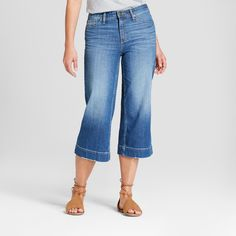 d6b308eaeba84 MICHAEL Michael Kors Womens Blue Denim Wide Leg Cropped Jeans 4 BHFO 6142