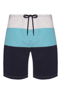 Navy Triple Stripe Board Shorts