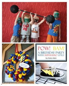 The Party Dress Magazine - Issue 3  super hero balloon wreath... red, yellow and blue balloons... foam board think balloon with kids name... easy peasy