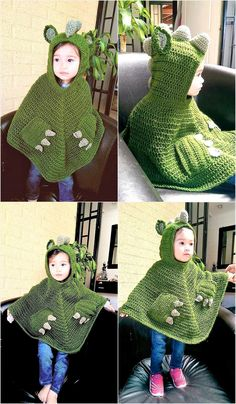 Some people think that wearing the sweater to stay warm ruins their fashion sense, but they can't help themselves because staying warm is necessary to stay healthy. Those with the unique fashion sense can go for a crocheted poncho, which can be croch Crochet Baby Poncho, Pull Crochet, Crochet Toddler, Crochet Baby Clothes, Crochet Car, Crochet For Boys, Crochet Gifts, Crochet Shawl, Crochet Dolls
