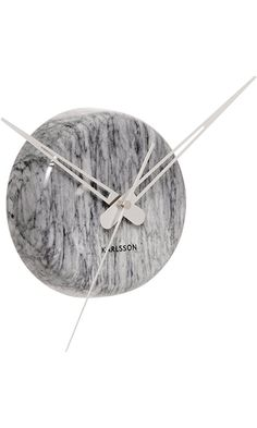 Karlsson Chrome Marble Wall Clock Grey - Modern Decorative Clock for Home Decor Best Price