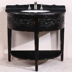 Legion Furniture Absolute Black Granite Top Single Sink Bathroom Vanity in Antique Espresso (Absolute Black Granite Top, no faucet), Size Single Vanities