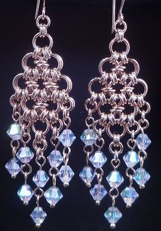 Lovely Japanese 12 in 2 chainmaille chandeliers with 6mm AB swarovski crystals     arrangement of Swarovski Crystal designer jewellery and many other tastefully adorned pieces of fashion jewellery.  Find